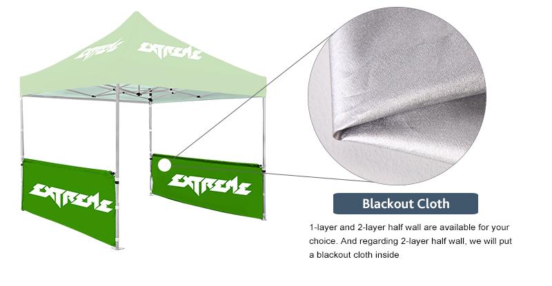 fabrics for display tent half sided walls