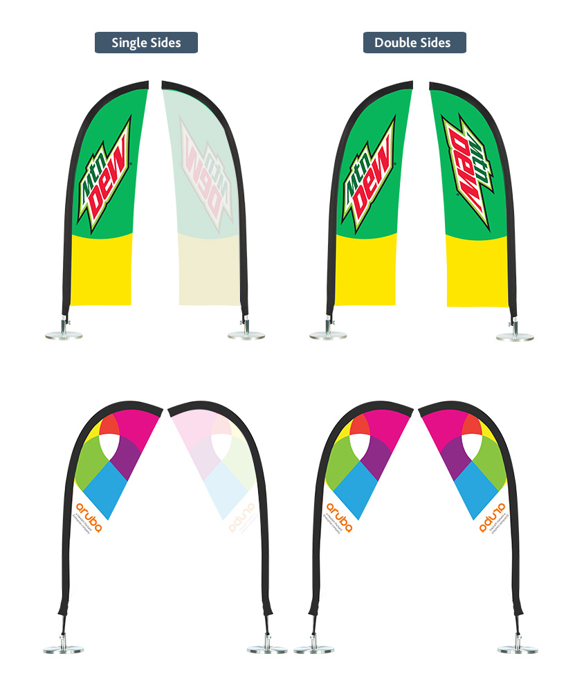 custom printed table feather flags