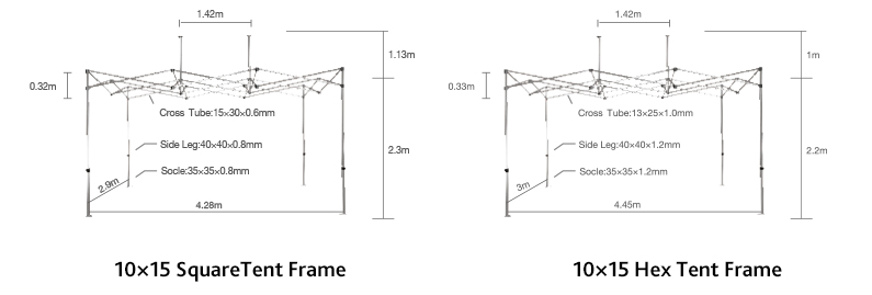 size details of promotional display tents