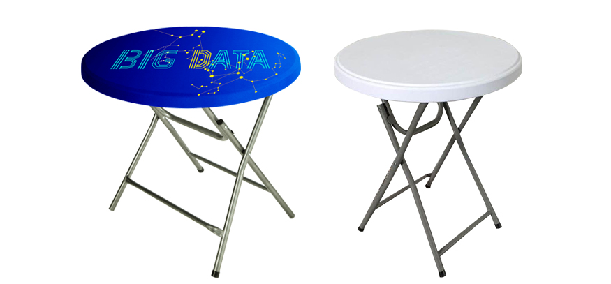 Round stretch table topper with custom printed graphics