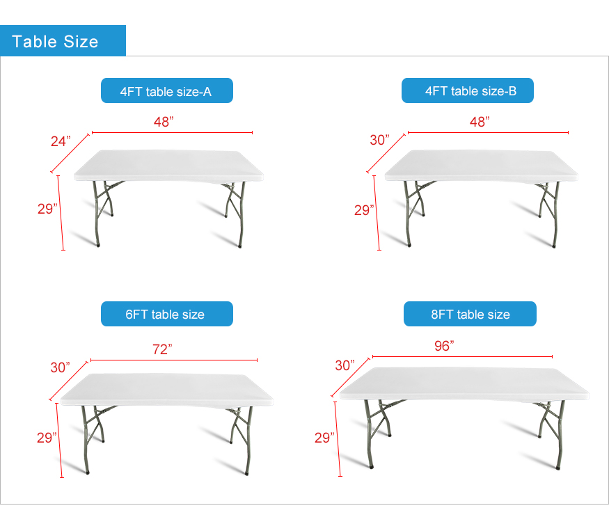 standard table sizes