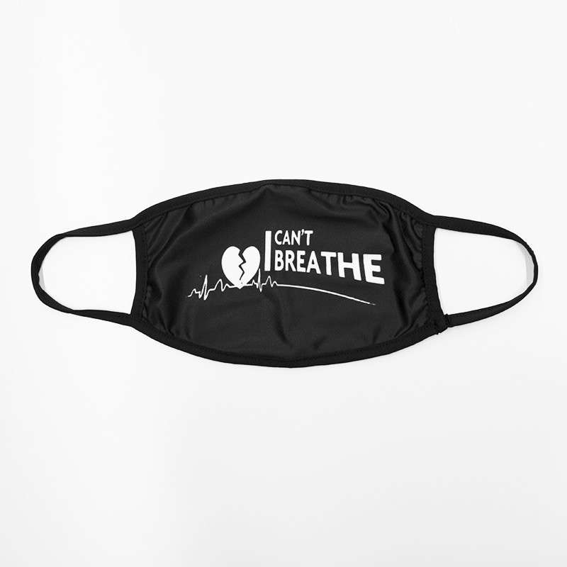 Flat Face Mask with I Can't Breathe